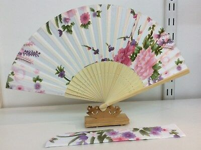 Japanese Silk Hand Fan-Floral Design with Silk Fan Holder - T05-T06