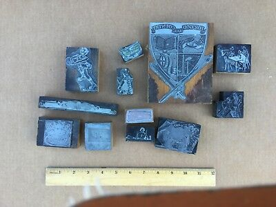 Letterpress Print Blocks Vintage Various Assorted Images 1930s