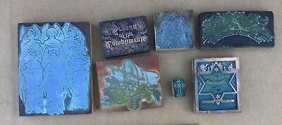 Lot of Vintage Letterpress Print Blocks Holidays Religious 1930s Large Size