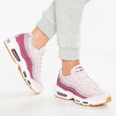 NIKE AIR MAX 95 Barely Rose Pink Purple White Leather Trainers Men Women UK  7 - EUR 104 9b6d92e56