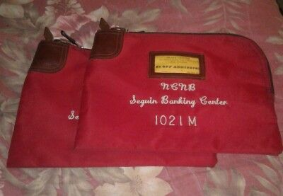 2 Ea. Vintage Embroidered Deposit Bags, Lock And Key-New Braunfels & Seguin Tx.