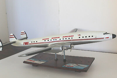 "TWA Lockheed  Constellation 33"" wingspan 1953 Travel Agency cast aluminum Model"