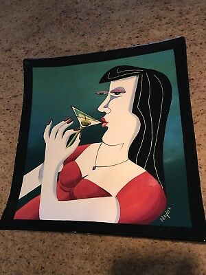 """Mary Naylor Pottery """" Martini Woman """" Sushi Plate White Salmon, Wa. 13.5 X 14 In"""