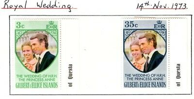 Gilbert and Ellice Islands 1973 Princess Anne Royal Wedding SG 221-22 Mint MH