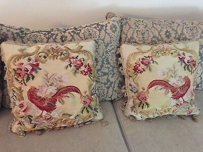 Vintage French Aubusson Needlepoint Petit Point ROOSTER PILLOWS SET OF TWO