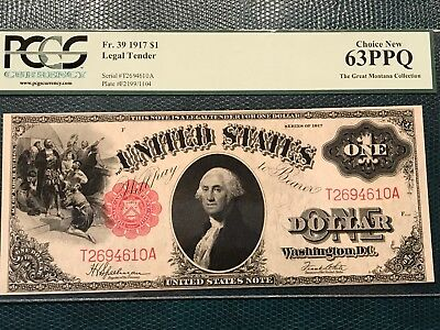 Fr 39 1917 $1 Legal Tender PCGS 63PPQ Choice New Great Montana Collection