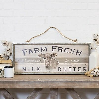 Wood Farm Fresh Sign with Galvanized Metal Frame and Rope Hanger Farmhouse Decor