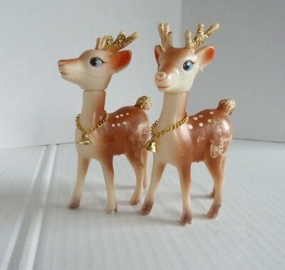 Vintage Plastic Christmas Reindeer lot of 2 Hong Kong Bell Collar Gold Glitter