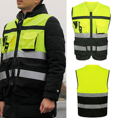 Safety Reflective Vest Security Visibility Construction Traffic Pocket NeonGreen