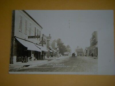 BUSINESS DISTRICT, BLOOMINGTON WIS., REAL PHOTO POSTCARD - EARLY 1900s