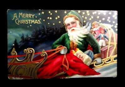 Santa Claus In Green Suit Christmas Postcard Toys Sled Great Color Germany Made