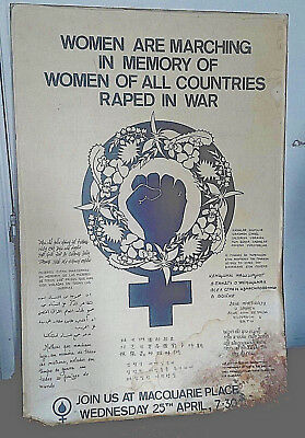 Poster, promoting a march in memory of women, raped in war. Feminist interest.