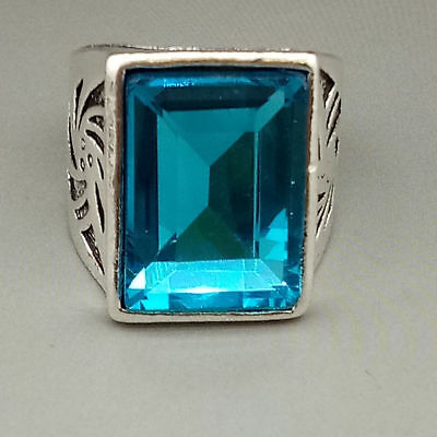 Chinese Exquisite Tibetan silver Inlaid Sapphire  National Fashion Ring   Z940