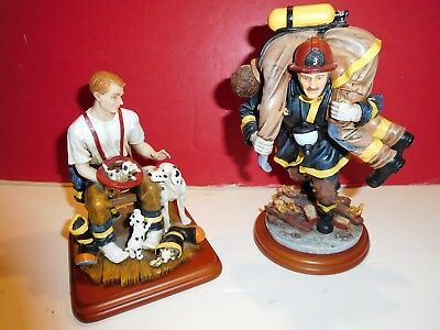 "Vanmark Red Hats of Courage fire statues-""A Welcome Home""; ""Hero III""-PAIR"