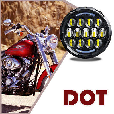 "7"" Daymaker LED Black Headlight Harley Street Glide Softail FLHX FLD V-Star Work"