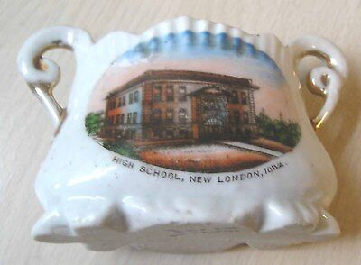 Souvenir New London Iowa Ia Porcelain China Picture Toothpick Holder Old Vtg