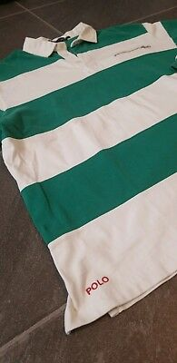 Vtg Polo Ralph Lauren Spell Out Striped Rugby Shirt Sz L 92 93 Stadium Suicide