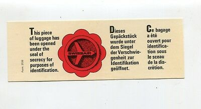 Vintage Airline Luggage Label SWISSAIR Luggage has been opened for security