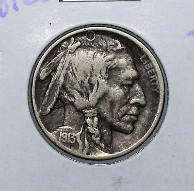 1913-D 5C Buffalo Nickel Type 1 Vf Details Holed Nice Album Coin Free Shipping!