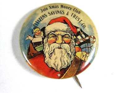 Antique Santa Claus & Elf Celluloid Citizens Savings & Trust pin pinback button
