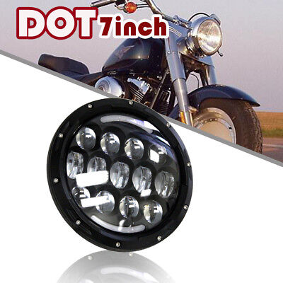 "Fit Harley Motorcycle 7"" Halo DRL LED Round Headlight Sealed Beam Projector Dark"