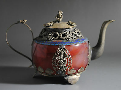 Vintage,OLD JADE ARMORED TIBETAN SILVER WITH MONKEY LID DECORATION TEAPOT b01
