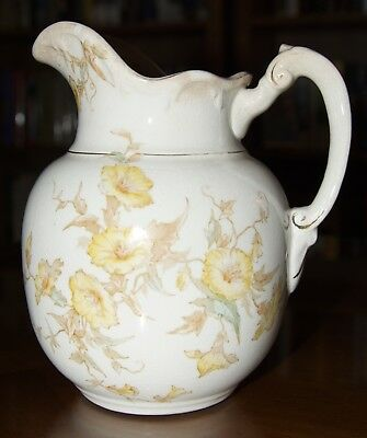 Antique Maddock's Lamberton Works Royal Porcelain Flower Pattern Water Pitcher