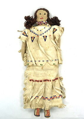 Plains Indian Leather Beaded Doll