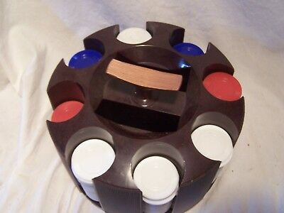 Vintage Tri-State Plastic Poker Chips w/Revolving Caddy Turning Card Holder