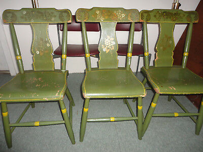 3 Vintage Hitchcock Dining Living Room Chairs Original Paint & Stencil