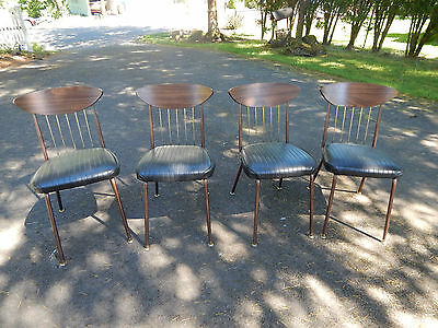 mid century Danish modern chairs 60's CHROMCRAFT dining kitchen metal wood set 4