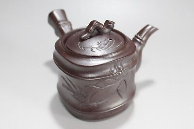 d418 Antique Japanese Banko Pottery Teapot Kyusu Purple Clay Sencha Tea Ceremony