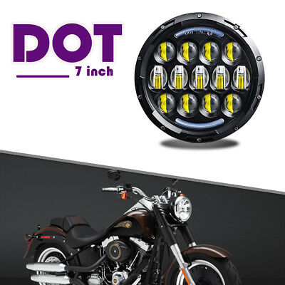 "NEW 7"" MOTORCYCLE PROJECTOR DAYMAKER HID LED LIGHT BULB HEADLIGHT Harley Chr DOT"