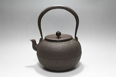 ad414 Antique Japanese Cast Iron Teakettle Tetsubin Kama Copper Lid Tea Ceremony