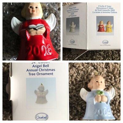 Vintage Goebel Porcelain Angel Bells Annual Ornament 1984-2009