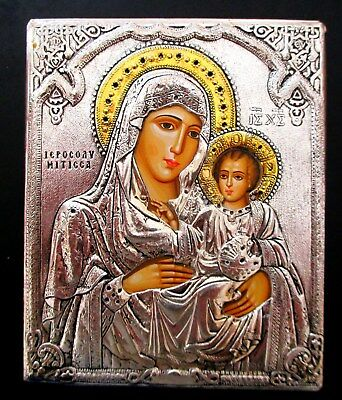 Hand Painted Silver-Gilt Oklad Orthodox Icon Virgin Mary And Child Mary Christ