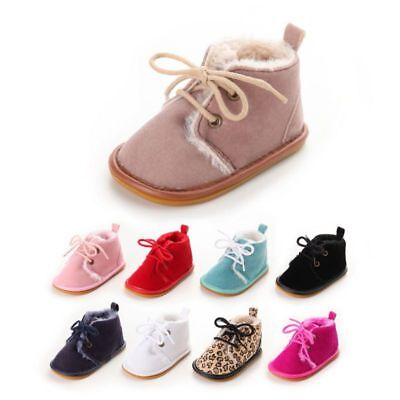 Baby Girls Winter Matte PU Leather+Velvet Boots Toddler Kids Crib Straps Shoes
