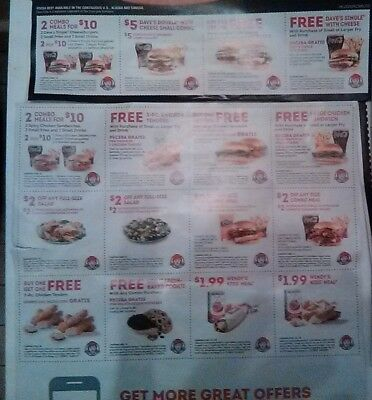 1 Each Whole Sheets Coupons ARBY'S, WENDY'S, POPEYES & BURGER KING!