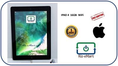 Apple iPad 4th Generation Refurbished Black 16GB+Charger+Cable+Warranty