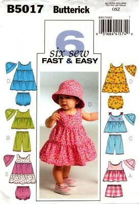 Butterick Sewing Pattern B5017 5017 Infants Top Dress Shorts Pants Hat Size NB-L