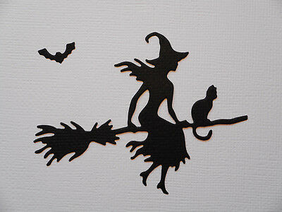 Halloween Witch Paper Die Cuts x 10 Witch Broomstick Cat Bat Scrapbooking