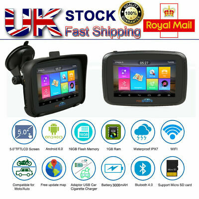 """5"""" Android 6.0 Bluetooth Motorcycle Car GPS Navigation 16GB SAT NAV Update Maps"""
