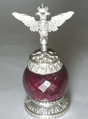 Double Eagle Faberge Huge Ruby Imperial Russian 88 Silver S.Peterburg 1910