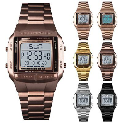 Men Stainless Steel Digital LED Square Dial Waterproof Stopwatch Quartz Watches