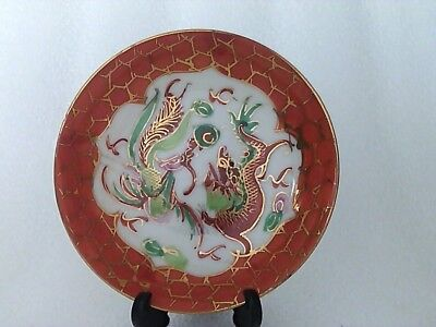 Antique Chinese Small Bowl Dragon, Pheonix & Flaming Pearl Handpainted C1900