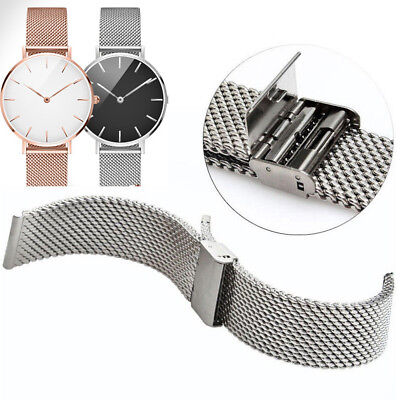 Mesh Stainless Steel Watch Band Link Bracelet Wrist Strap Clasp Safet Catch