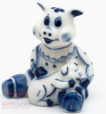 Porcelain Gzhel Pig w a baby figurine handmade in Russia Symbol of 2019 New Year