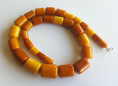 67g Antique Egg Yolk Butterscotch Natural Baltic Amber Necklace Hupo vintageアンバー