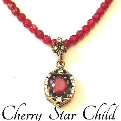 Antique vintage genuine natural faceted red rubies 925 sterling silver pendant