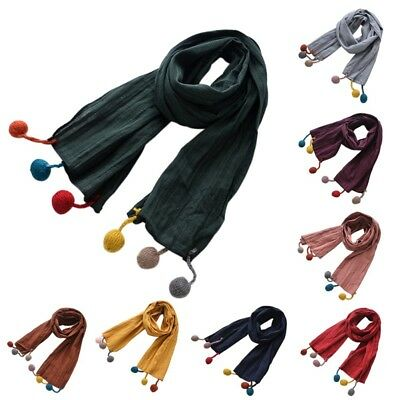 Toddler Kids Plush Balls Tassel Scarf Boy Girls Skiing Winter Warm Neck Shawl